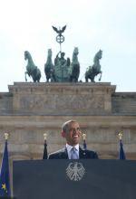 Barack Obama při projevu v Berlíně